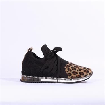 Marco Tozzi Bonallo Knitted Stud Trainer - Black/Leopard