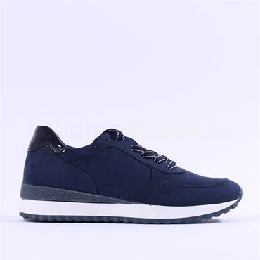 Marco Tozzi Chino Fabric Lace Trainer - Navy Combi