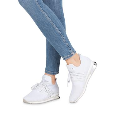 Marco Tozzi Knitted Trainer Stud Detail - White