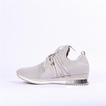 Marco Tozzi Knitted Trainer Stud Detail - Silver Grey