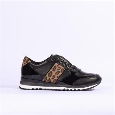 Marco Tozzi Slip On Trainer Print Detail - Black Combi
