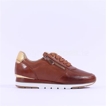 Marco Tozzi Opalla Leather Trainer - Cognac Leather
