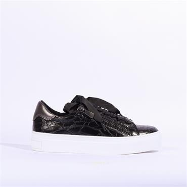 Marco Tozzi Ribbon Lace Trainer Ago - Black Croc