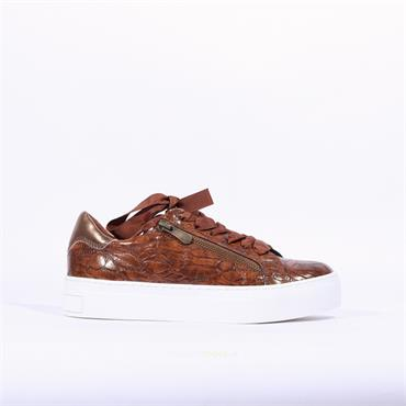 Marco Tozzi Ribbon Lace Trainer Ago - Brown Snake