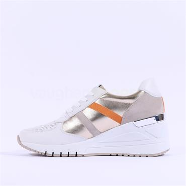 Marco Tozzi Leather Magana Wedge Trainer - White Gold Leather