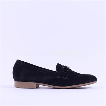 Marco Tozzi Calle Suede Buckle Loafer - Navy Suede