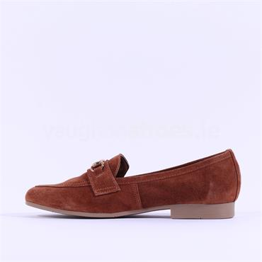 Marco Tozzi Calle Suede Buckle Loafer - Tan Suede