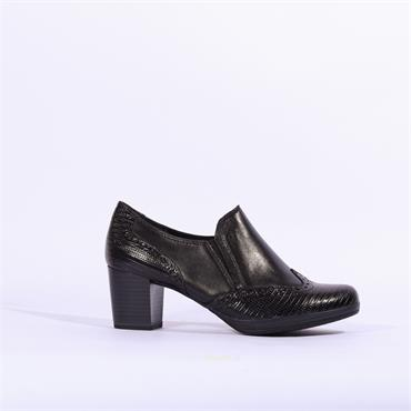 Marco Tozzi Block Heel Brogue Barsanti - Black Leather