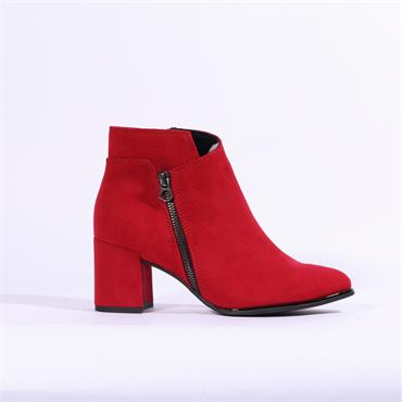 Marco Tozzi Delo Ankle Boot Side Zip - Red