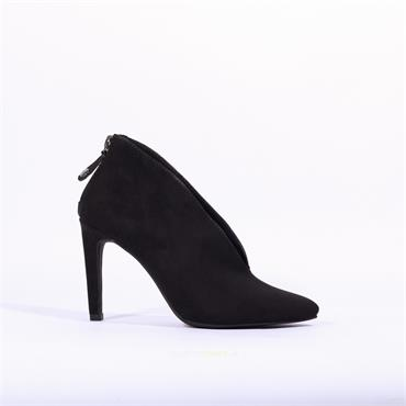Marco Tozzi Metato V Cut Heel Zip Boot - Black Suede