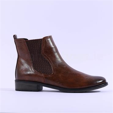 Marco Tozzi Rapalli Low Heel Ankle Boot - Cognac Combi