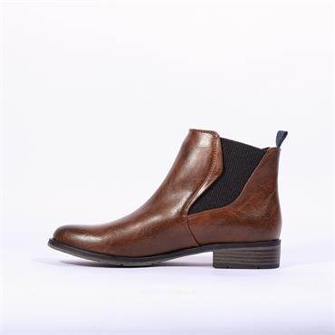 Marco Tozzi Rapalli Low Heel Ankle Boot - Cognac