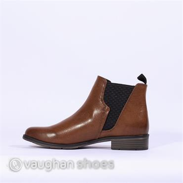 Marco Tozzi  Ankle Boot With Gusset - Cognac