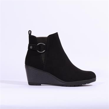Marco Tozzi Ranco Wedge Boot With Buckle - Black