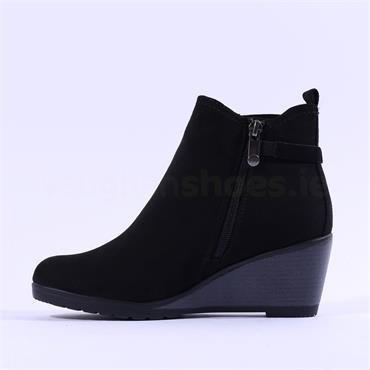 Marco Tozzi Wedge Ankle Boot With Buckle - Black