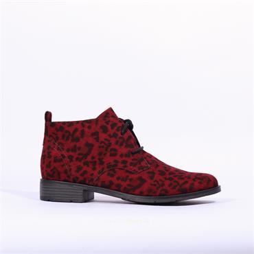Marco Tozzi Laced Leopard Boot Rapalli - Wine