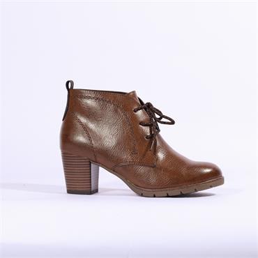 Marco Tozzi Lace Block Heel Ankle Boot - Cognac