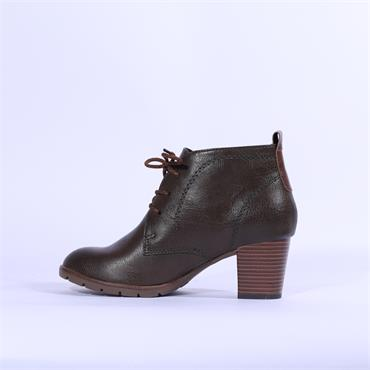 Marco Tozzi Lace Block Heel Ankle Boot - Khaki