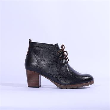 Marco Tozzi Lace Block Heel Ankle Boot - Navy