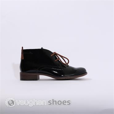 Marco Tozzi Patent Flat Boot - Black