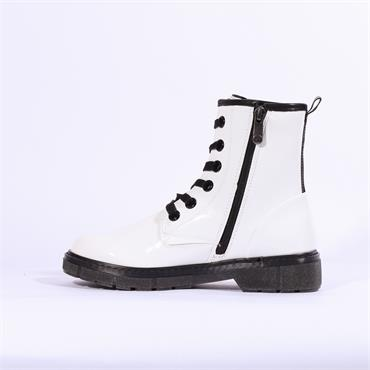 Marco Tozzi Badie Military Style Boot - White Patent