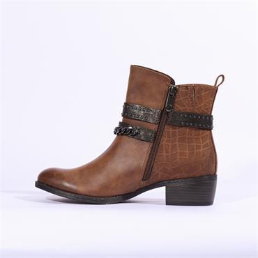 Marco Tozzi Drema Ankle Boot Stud Strap - Cognac