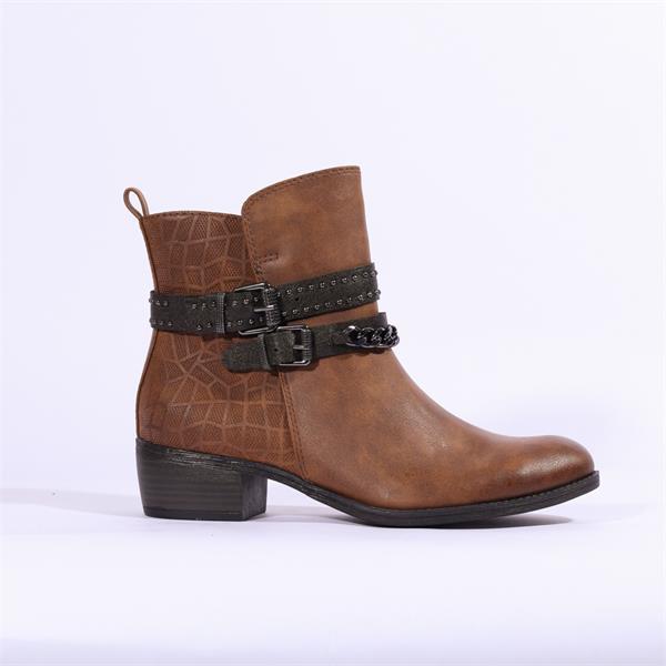 Marco Tozzi Drema Ankle Boot Stud Strap Cognac