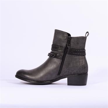 Marco Tozzi Drema Ankle Boot Stud Strap - Dark Grey Combi