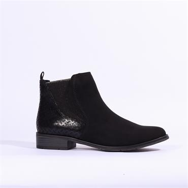 Marco Tozzi Rapalli Low Suede Ankle Boot - Black Combi