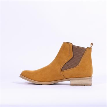 Marco Tozzi Rapalli Low Suede Ankle Boot - Mustard