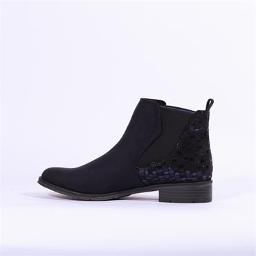Marco Tozzi Rapalli Low Suede Ankle Boot - Navy Combi