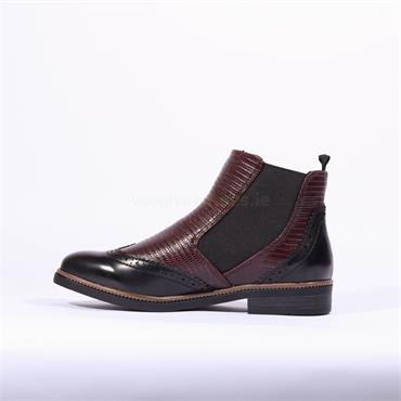 Marco Tozzi Brogue Chelsea Boot Rova - Bordo Snake