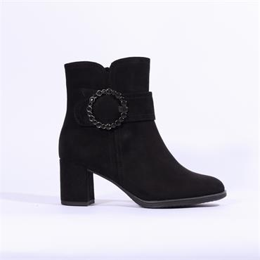 Marco Tozzi Pacco Boot Diamante Buckle - Black Suede
