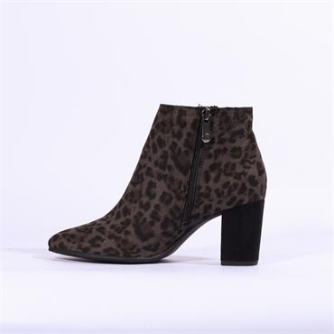 Marco Tozzi Lode Chunky Heel Ankle Boot - Grey Leopard