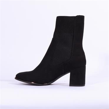 Marco Tozzi Delo High Gusset Block Boot - Black Suede
