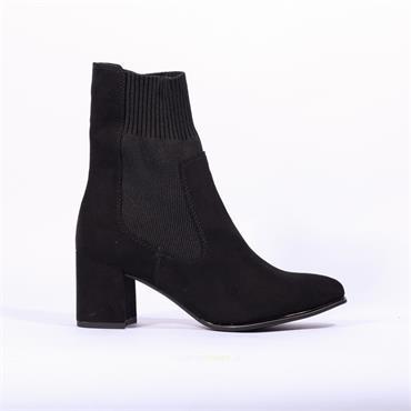 Marco Tozzi Delo Block Heel Sock Boot - Black Suede