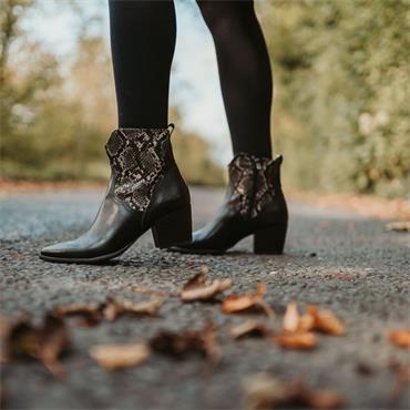 Marco Tozzi Gari Snake Print Ankle Boot - Black Combi