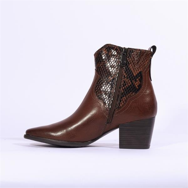 Marco Tozzi Gari Snake Print Ankle Boot Brown Combination