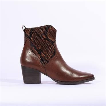 Marco Tozzi Gari Snake Print Ankle Boot - Brown Combination