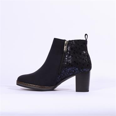 Marco Tozzi Pacco High Glitter Heel Boot - Navy Combi
