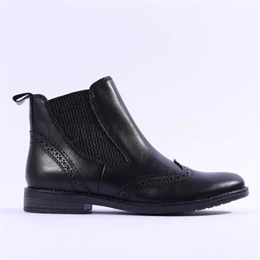 Marco Tozzi Leather Wingtip Boot Rapalli - Black Leather