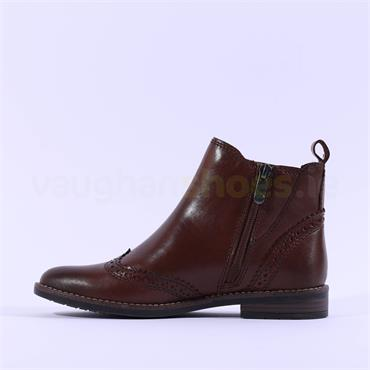 Marco Tozzi Leather Wingtip Boot Rapalli - Chestnut Leather