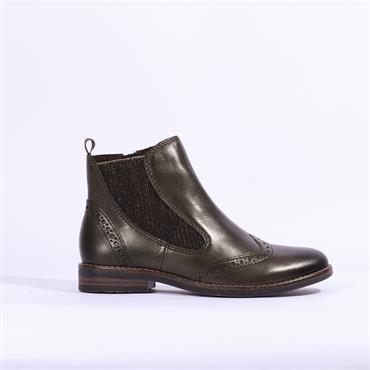 Marco Tozzi Leather Brogue Style Boot - Khaki