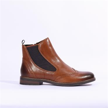 Marco Tozzi Leather Brogue Style Boot - Tan