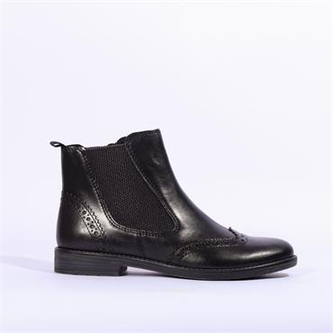 Marco Tozzi Brogue Ankle Boot Rapalli - Black Leather