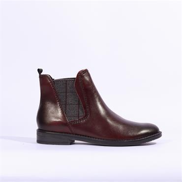 Marco Tozzi Rapalli Leather Ankle Boot - Bordo