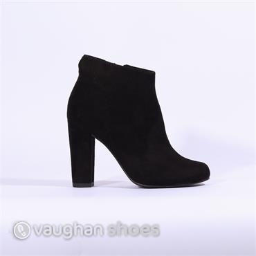 Marco Tozzi High Heel Suede Ankle Boot - Black