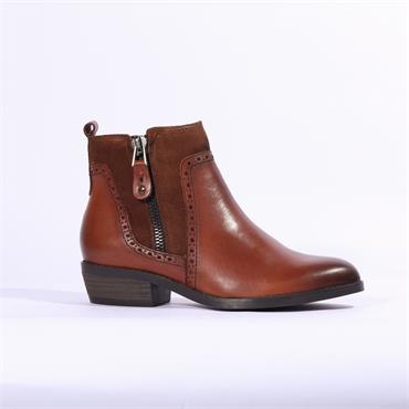 Marco Tozzi Corno Leather Ankle Boot Zip - Cognac