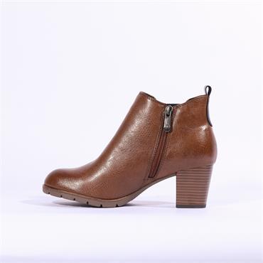 Marco Tozzi Pesa Block Ankle Boot Gusset - Cognac