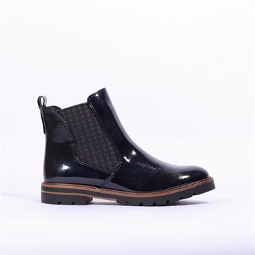 Marco Tozzi Bello Patent Gusset Boot - Navy Patent